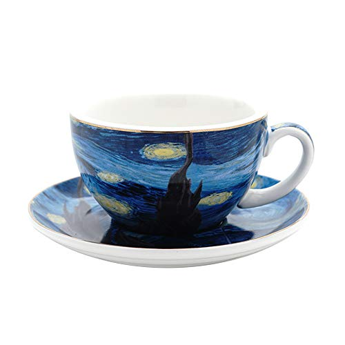 Coffeezone Vincent Van Gogh Art The Starry Night Porcelain Cappuccino Coffee Cup Saucer (7.5 oz)
