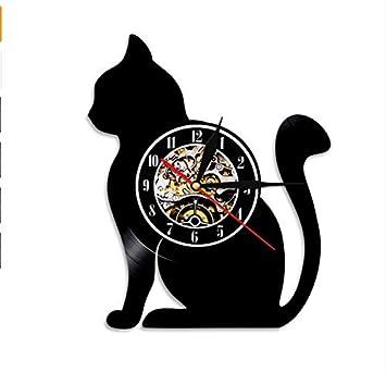 MFHYSJ 1 Pieza Lindo Gato Negro Disco De Vinilo Reloj De ...