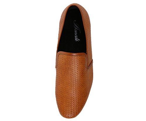Amali Mens Klär Tillfälliga Loafers I Vävda Broderade Mönster Träliknande Ensam Stilar Trey, Fälla, Harmon Tan