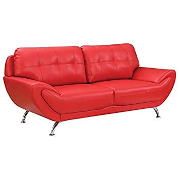 Amazon.com: Furniture of America Wade Leather Tufted Sofa in ...