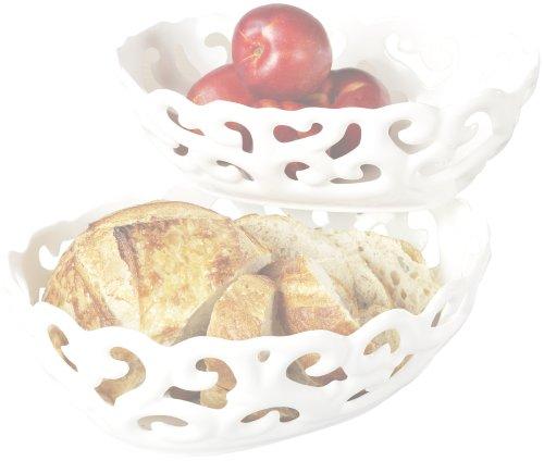 TTU Gallery Set of 2 Oval Serving Basket, - Baskets Bread Ceramic