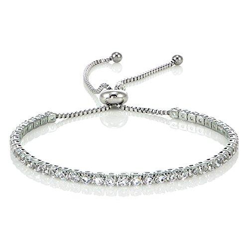Stainless Steel Cubic Zirconia Adjustable Bracelet