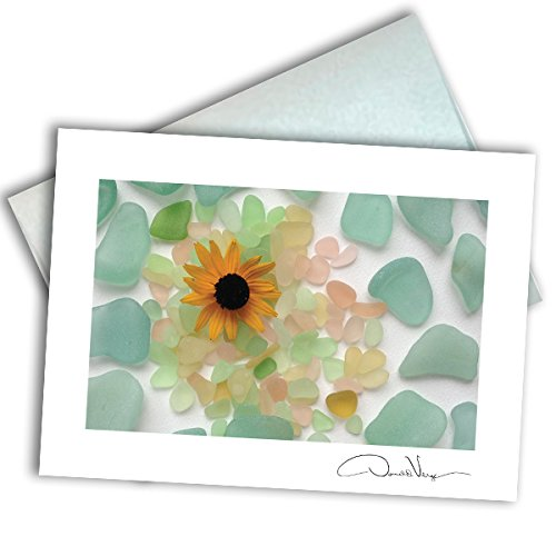 Single Sea Glass Flower Note Card. 3x5 Blank Card with Classy Envelope. Best Birthday Cards, Thank You Notes, Invitations. Unique Christmas, Mother's Day & Valentines Gifts for Women, Men