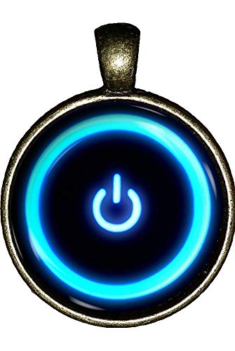 CHAOTICFASHION Power Button Necklace Computer Geek Software Video Game System Jewelry Pendant Charm Gifts (Game Mens Necklace Video)