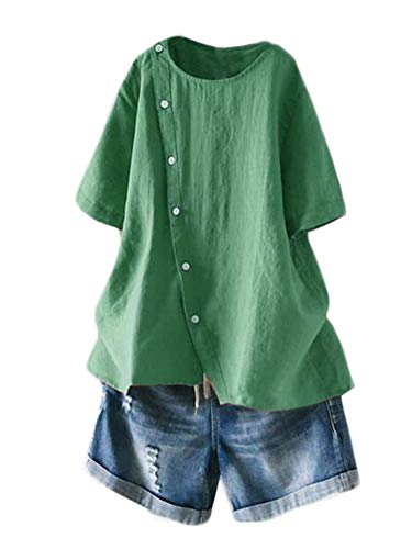 Minibee Women's Linen Blouse Tunic Short Sleeve Shirt Tops with Buttons Decoration Green L
