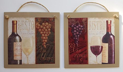Grapes Wine Bottle Wall Decor Art Hang -set of 2 Bistro Resto Blanc Rouge