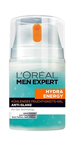 L'Oréal Men Expert Hydra Energy  kühlende Feuchtigkeitspflege für Männer - 24h Feuchtigkeitscreme für fettige Haut mit Anti-Glanz-Effekt, 1 x 50 ml