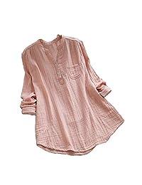 S.Charma Women Stand Collar Long Sleeve Cotton Tunic Tops Plus Size Tee Shirt Blouse