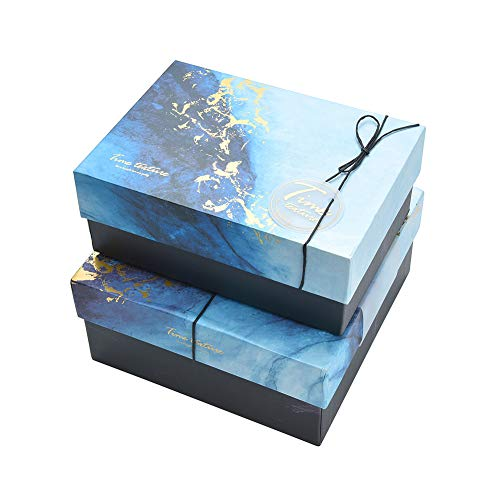 WESAPPINC Premium Medium Christmas Gift Boxes with Lids (7.87″ x 7.87″ x 3.5″) Sturdy Gift Boxes, Reusable Decorative Storage Boxes for Gift Packaging  (Small:7.87″x5.7″x3.1″)