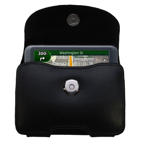 Multidapt Leather Case - Belt Mounted Leather Case Custom Designed for the Garmin Nuvi 765T - Black Color with Removable Clip by Gomadic