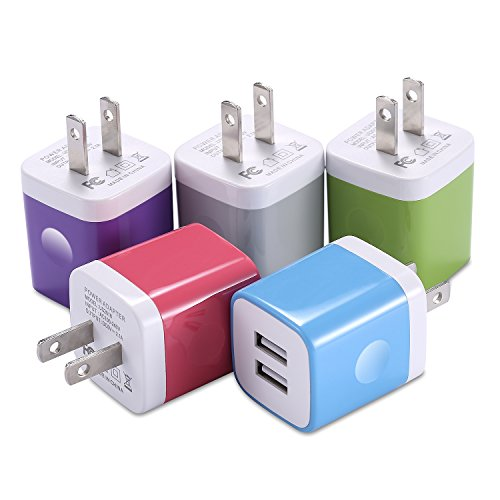 X-EDITION USB Wall Charger, 5-Pack 2.1A Dual Port USB Cube Power Adapter Wall Charger Plug Charging Block Cube Compatible with iPhone Xs Max/Xs/XR (2018)/X/8/7/6 Plus/5S, iPad, Samsung, Android Phone
