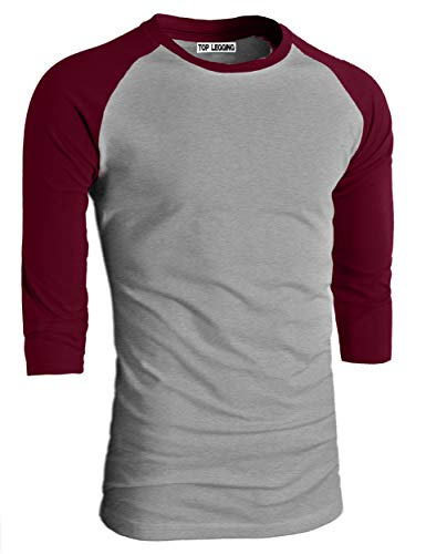 TOP LEGGING TL Men's Baseball Crew Neck Cotton Long or 3/4 Sleeve Essentail Raglan Tee Shirts (Large, ()