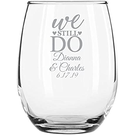 144 Pack Personalized Color Printed 9 Ounce Stemless Wine Glass We Still Do Silver