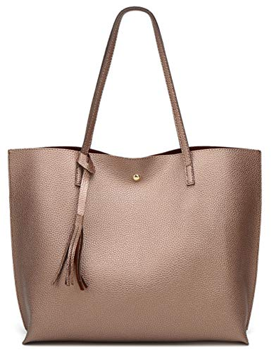 Women's Soft Leather Tote Shoulder Bag from Dreubea, Big Capacity Tassel Handbag Bronze