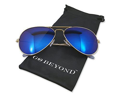 Premium Classic Aviator Polarized Sunglasses with Gold Metal Frame , Dark Blue Mirror Lens 100% UV Protection For Men and Women (Sunglasses Wears 2016 Kardashian Kim)