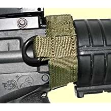 Ultimate Arms Gear IDF Israeli Defense Forces Slip On Black Sling Mount Strap Loop Adapter Rifle Shotgun Velcro Attachment with D-Ring For ATI German Sports Gun GSG5 GSG-5 MP5 Savage Axis 99