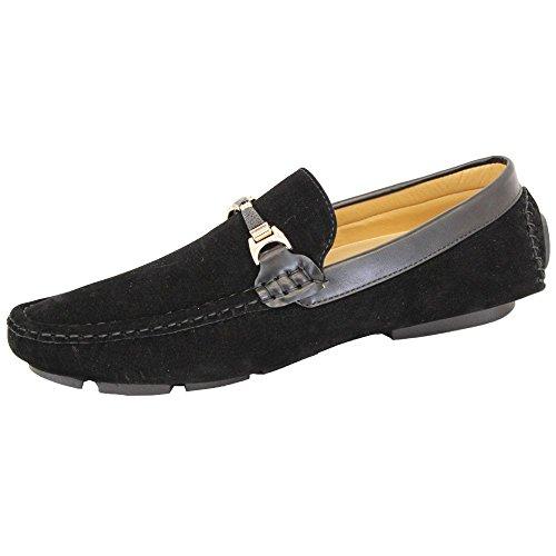 Chaussures Mocassins Black Look De Italien Feuillet Conduite Noir Mens Belide sur Nouveau Flâneurs Daim wtHqnXOf