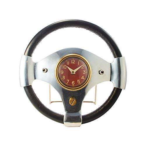 My Swanky Home Retro Mid Century Car Steering Wheel Clock | Table Desk Vintage Style Sports