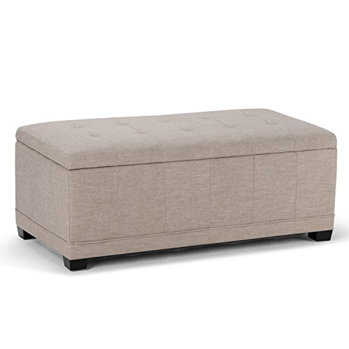 Simpli Home Westchester Rectangular Storage Ottoman Bench, Natural
