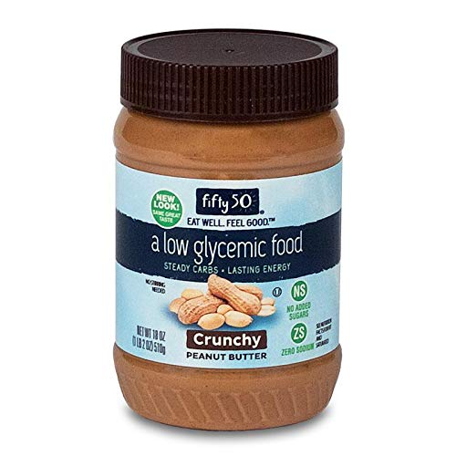 (Fifty50 Foods Low Glycemic, No Added Sugar, Crunchy Peanut Butter, 18 Ounce )