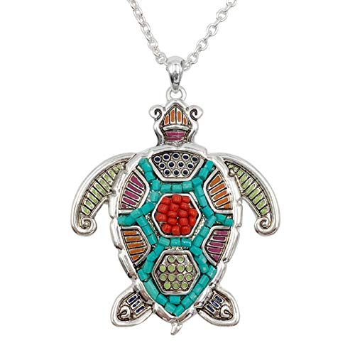(Gypsy Jewels Long Multi Color Beaded & Inlay Silver Tone Necklace (Sea Turtle) )
