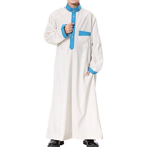 Xinvision Enfants Musulmans Garçons Moyen-orient Arabie Robe Adolescent Thobe Dishdasha Islamic Caftan Arabian Manches Longues Pakistan Pleine Longueur De Vêtements Ethniques Traditionnels, Beige Th873