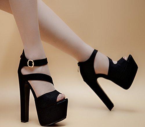 8007 sandalias negro y 6 fresco verano centimetros de fondo grueso 14 de en XiaoGao wq8POP