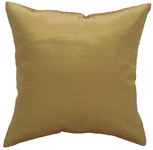 Avarada 16x16 Inch (40x40 cm) Solid Decorative Throw Pillow Case Cushion Cover for Sofa Couch Chair Bed Insert Not Included Zipper Gold - Gold Insert Solid