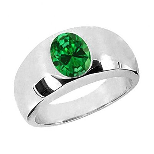 - 2.10 Ct Oval Green VS Simulated Emerald 925 Sterling Silver Men's Ring