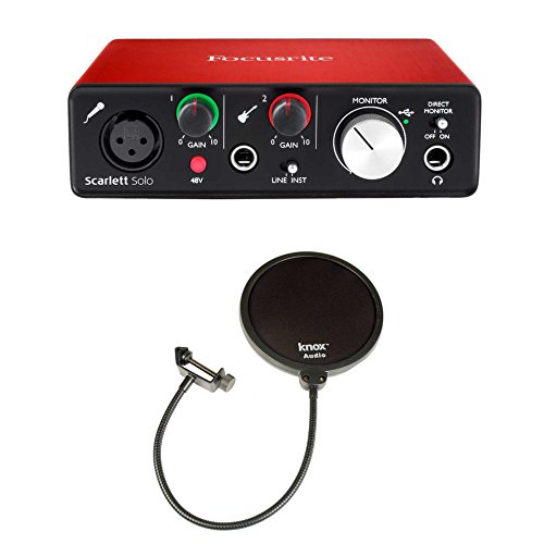 Focusrite Scarlett Solo USB Audio Interface (2nd Gen) & Knox Pop Filter by Focusrite