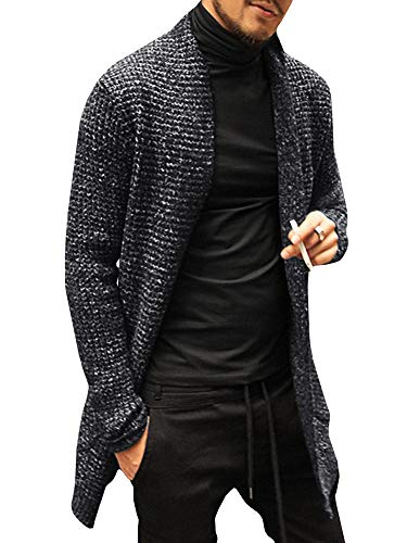 Pengfei Mens Cardigan Sweaters Open Front Cable Knit Long Sleeve Shawl Collar Coat Cardigans