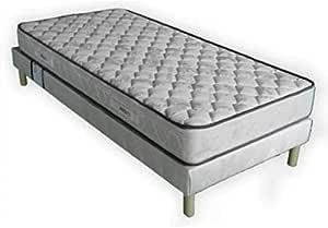 Conjunto de colchón de 20 cm y somier tapizado de 1 plaza, 90 x 190 cm + patas.