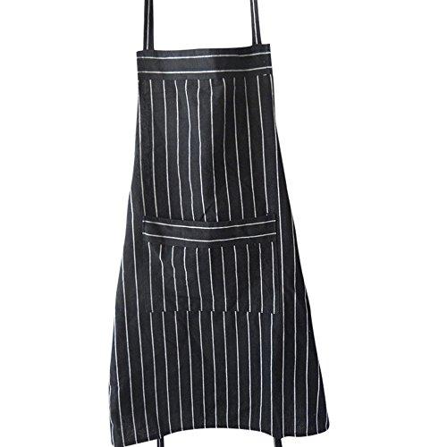 NewKelly Elegant Black Strips Cooking Bib Flower Style Pocket Lace Apron Dress Women Home Kitchen