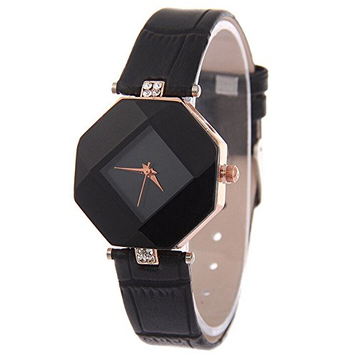Womens Rhinestone Quartz Watches,Ulanda-EU Fashion Analog Clearance Lady Wrist Watch Female watches on Sale Watches for Women,Round Dial Case Comfortable PU Leather Wristwatch m94 (Black)
