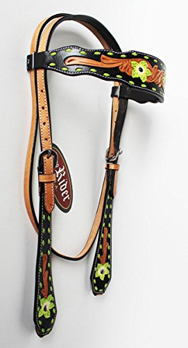 (PRORIDER Horse Tack Bridle Western Leather Headstall Lime Green 8278HB)