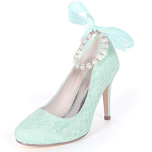 Mariage Femme amp; Perle Fy562 9cm Bout Rond Chunky Green yc Party Evening talons Chaussures Kitten De L 1wx4IvtqW