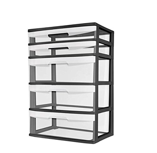 Sterilite 5-Drawer Wide Tower with See-Through Drawers. Keep Your Rooms Neat And Tidy With This 5 Drawer Tower. Suitable For Office, Kids Rooms,Garage, anywhere. Plastic Storage Tower Is Sturdy And Keeps Your Items Safe. (Black)