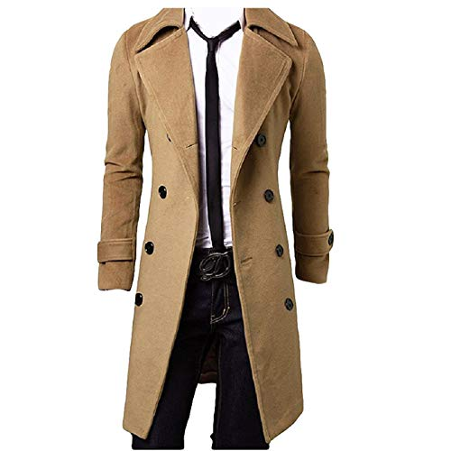 Men Winter Trench Coat Slim Fit Turn Down Collar Knit Cuffs Woolen Coat Business Jacket Overcoat (Double Breasted Khaki, L)