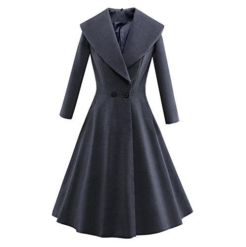 Tecrio Women Retro Solid Full Sleeve Wide-lapel Breasted Long Coat Swing Dress XXXL - Double Skirt Breasted Suit
