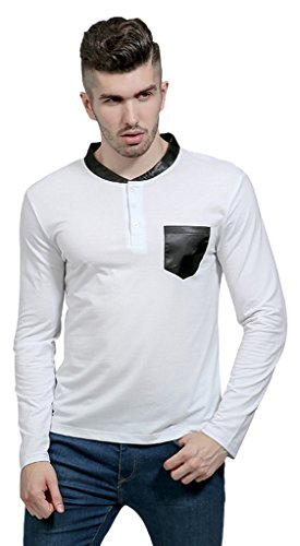 Whatlees Mens Long Sleeve Button Down Contrast Collar Breathable Golf Office Polo Shirt With Front Pocket B633-White-M