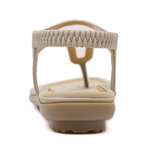 Btrada Womens Fashion Sandals-Summer Flats-Bohemia Sandals-Clip Toe Shoes Apricot PRccC