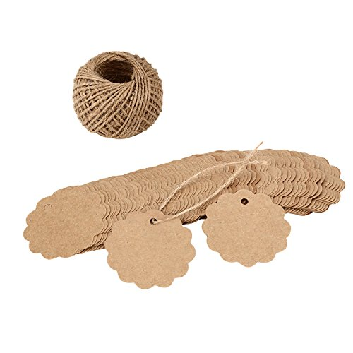 Punch Scalloped Tag (Tenn Well 100PCS Scalloped Label Tag, Kraft Paper Gift Tag with 100Feet Jute Twine String for Party, Wedding, Gift Decoration(Brown))