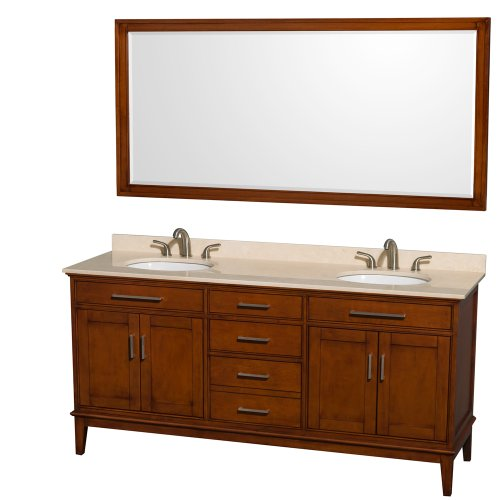 Wyndham Collection Hatton 72 inch Double Bathroom Vanity in Light Chestnut, Ivory Marble Countertop, Undermount Oval Sinks, and 70 inch Mirror