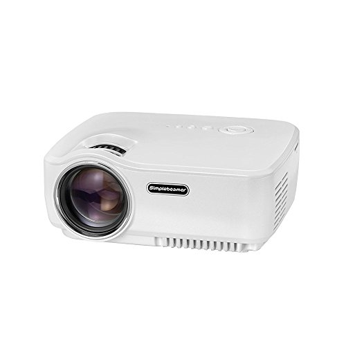 Mini Projector, Simplebeam GP70 1500 ANSI Luminous Efficiency LED Portable 1080p Projectors with HDMI USB AV SD VGA for Home Theater PS2 PS3 XBOX Game PC TV Show, White