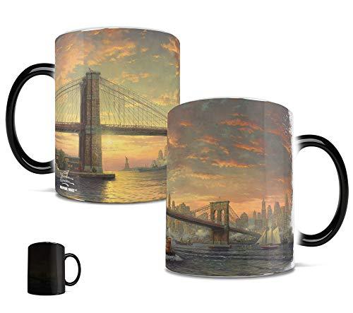 Morphing Mugs Thomas Kinkade The Spirit of New York (Brooklyn Bridge) Heat Reveal Ceramic Coffee Mug - 11 Ounces
