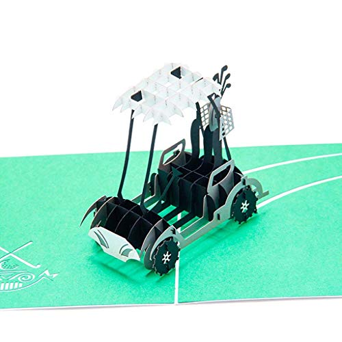 Hacloser 3D Pop Up Greeting Cards, Golf Cart Holiday Postcard Craft Art Wedding Birthday Invitations with Envelope