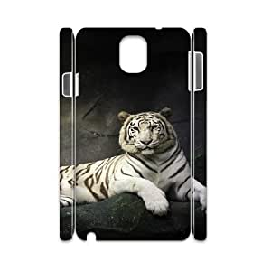 3D Okaycosama Funny Samsung Galaxy Note 3 Case Super Beautiful White Tiger Protective Cute for Girls, Luxury Case for Samsung Galaxy Note 3, [White]