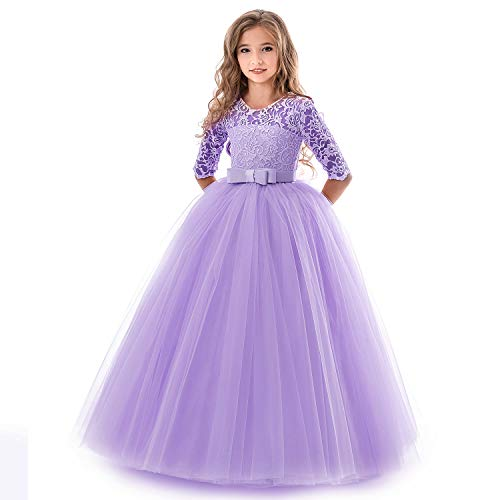 Lace Wedding Bridesmaid Princess Dress Floor Length A Line Pageant Gown Purple ()