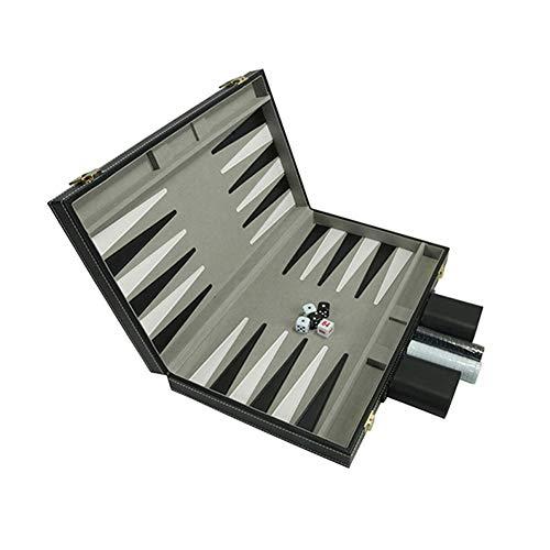 Amusingtao Juego Backgammon Juguete Educativo Regalo Negocios Tablero ajedrez Juego Cuero PU portátil Caja Madera Mesa…