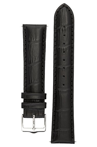 Signature Senator in black 22 mm watch band. Replacement watch strap. Genuine Leather. Steel buckle. Limited time SALE 30%